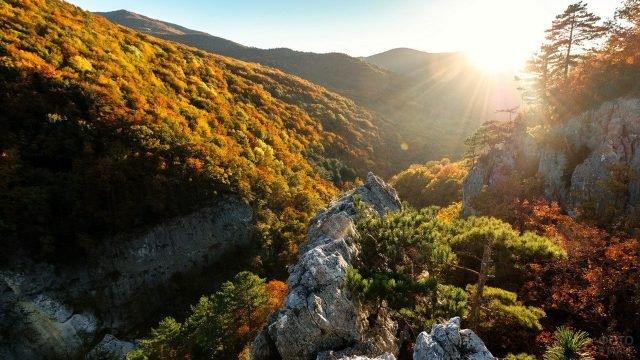 Солнечный осенний день в Большом каньоне Крыма