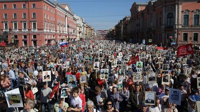 Шествие Бессмертного полка в День Победы в Петербурге