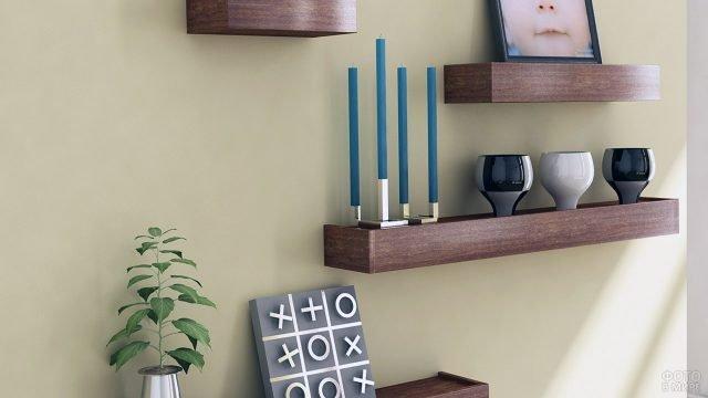 Деревянные полки-консоли для декора современного интерьера