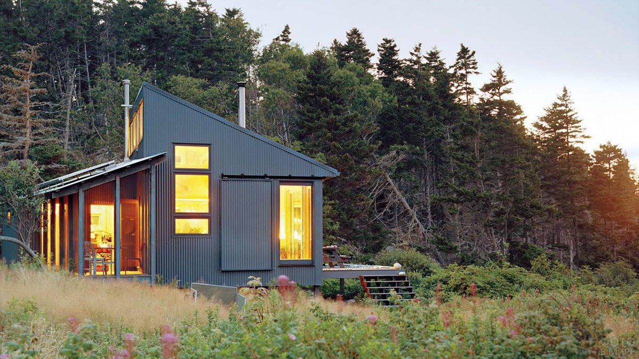 Оригинальный дачный дом с односкатной крышей на опушке вечернего леса