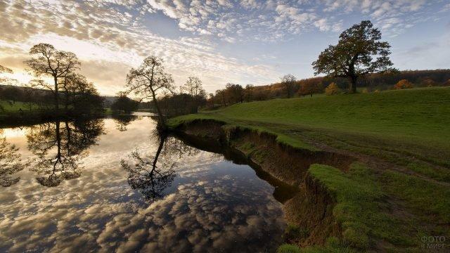 Деревья и облака отражаются в реке