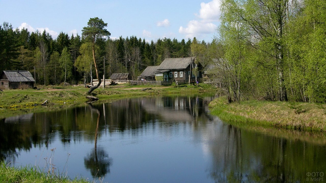 Деревня на берегу речки