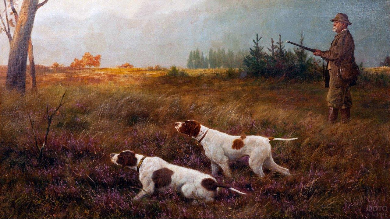 Картина мужчины на утиной охоте с собаками