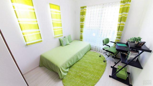 Минималистичный интерьер спальни для подростка с салатовыми текстильными акцентами