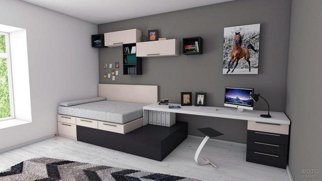 Современная спальня для подростка с рабочим уголком