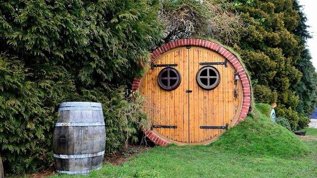 Дом-землянка в форме бочки под хвойными деревьями