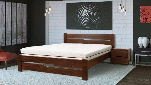 Деревянная двуспальная кровать в современном интерьере