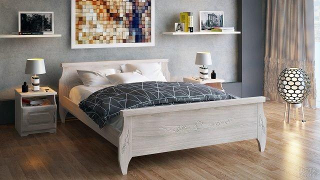 Двуспальная кровать из бука в современной спальне