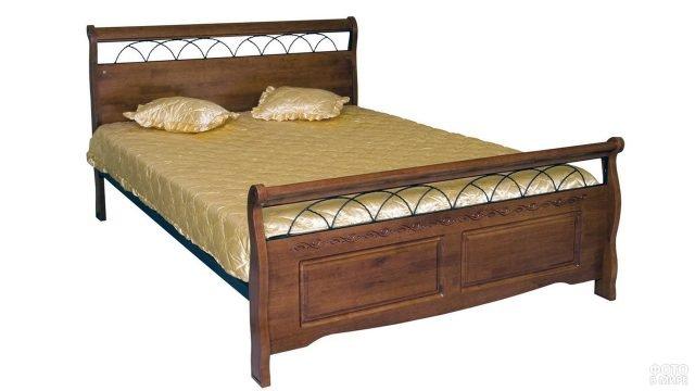 Кровать из массива тёмной вишни с коваными элементами декора