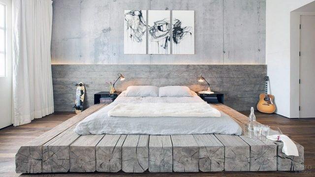 Кровать-подиум из бруса