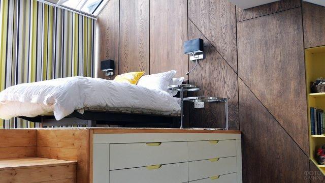 Кровать-подиум на основе с системой хранения