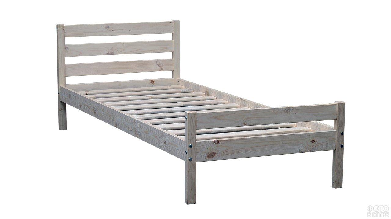 Односпальная деревянная кровать из сосны