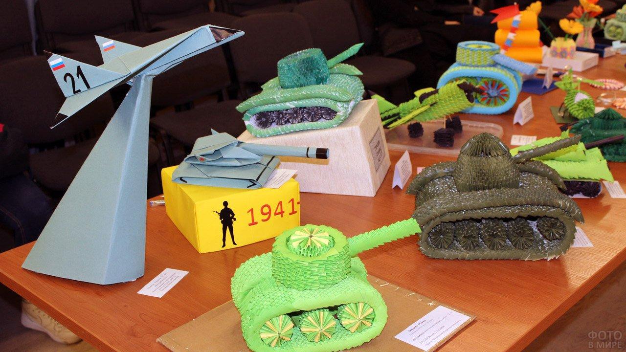 Объёмные детские поделки в виде танков и самолётов к 23 февраля