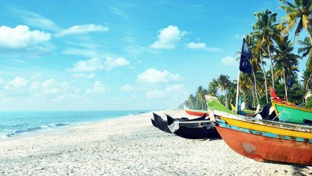 Пёстрые лодки для туристических прогулок лежат на песке под пальмами пляжа на Гоа