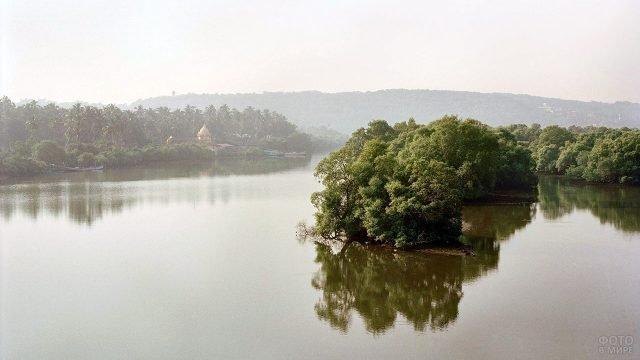 Туманное утро на реке в Гоа