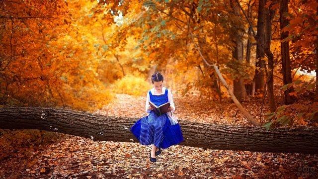 Девочка в синем платье сидит с книгой на фоне осенней кленовой аллеи