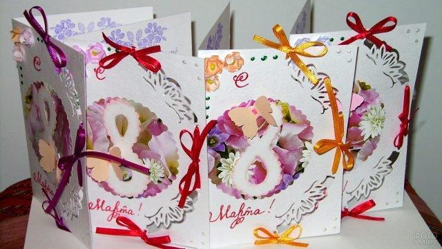 Детские самодельные открытки для мам к 8 марта