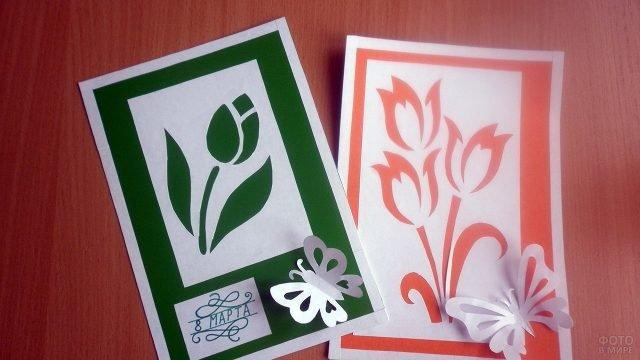 Графичные самодельные открытки-трафарет к 8 марта