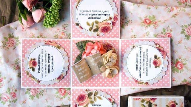 Открытка-коробочка в технике скрапбукинга с цветами и стихами к 8 марта