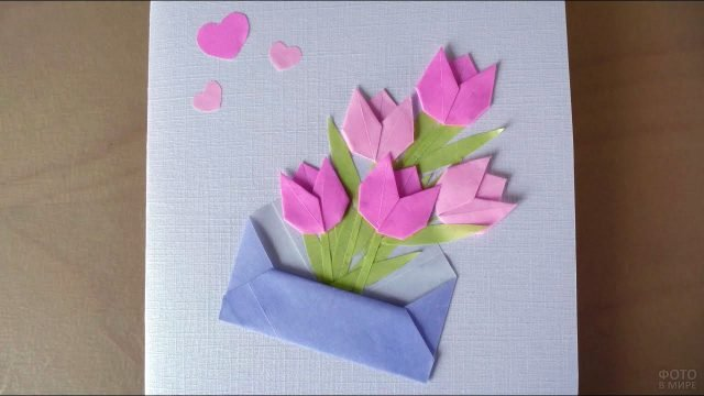 Открытка с розовыми тюльпанами из цветной бумаги к 8 марта