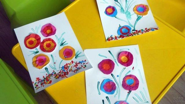 Открытки с цветами к 8 марта сделанные своими руками в детском саду