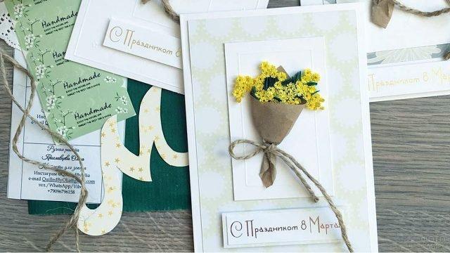 Самодельные открытки с букетами мимоз к 8 марта