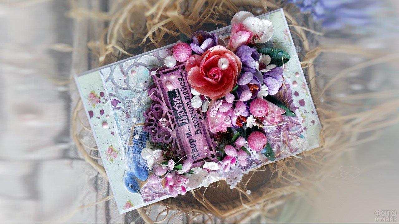 Скрапбукинг-открытка с объёмными цветами к 8 марта