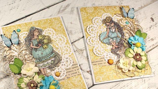 Винтажные открытки в технике скрапбукинга к 8 марта