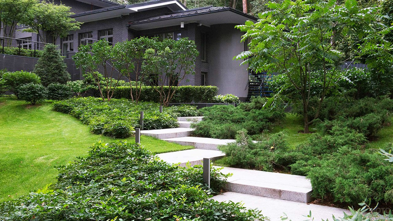 Современный линейно-графичный ландшафтный дизайн сада с гранитными ступеньками
