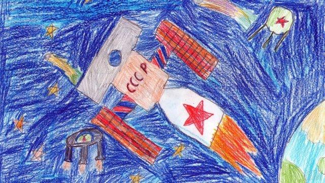 Детский рисунок карандашами к Дню космонавтики
