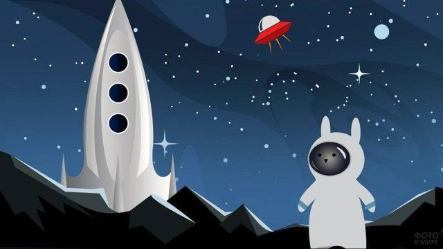 Открытка с космическим зайцем на луне в честь 12 апреля