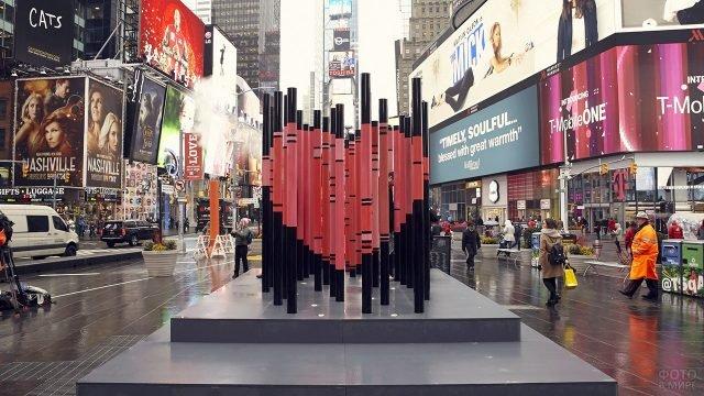Инсталяция-сердце к Дню влюблённых в Нью-Йорке