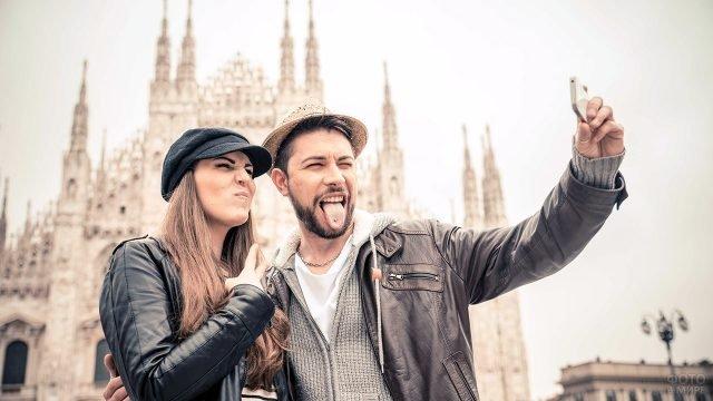 Молодая пара на День Святого Валентина в Милане