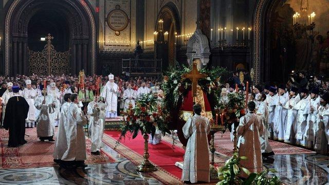 Пасхальная служба с участием патриарха Кирилла