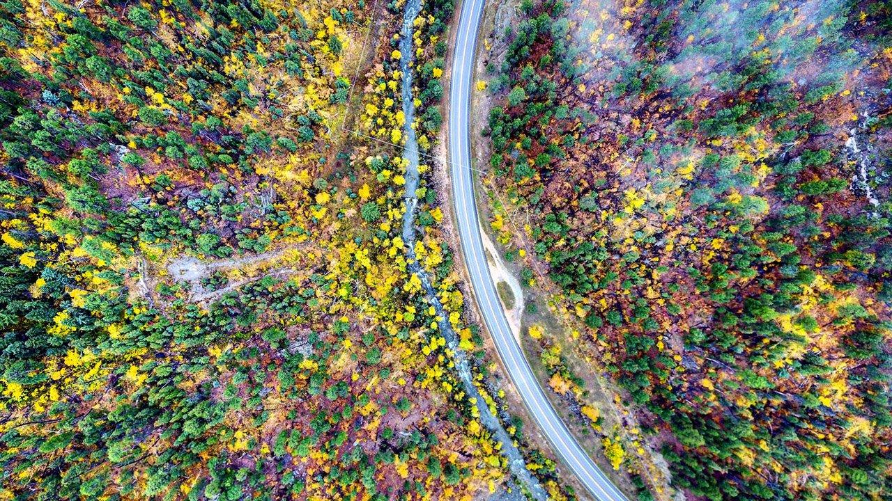 Вид сверху на петлю горной автотрассы через пёстрый осенний лес