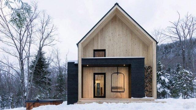 Двуцветный деревянный дом в скандинавском стиле среди зимнего леса
