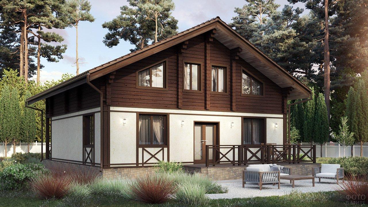 Комбинированный дом из кирпича и бруса в скандинавском стиле