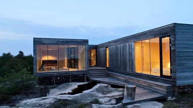 Модульный деревянный эко-дом в современной скандинавском стиле