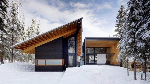 Оригинальный дом с комбинированной плоской и односкатной крышей на заснеженном участке