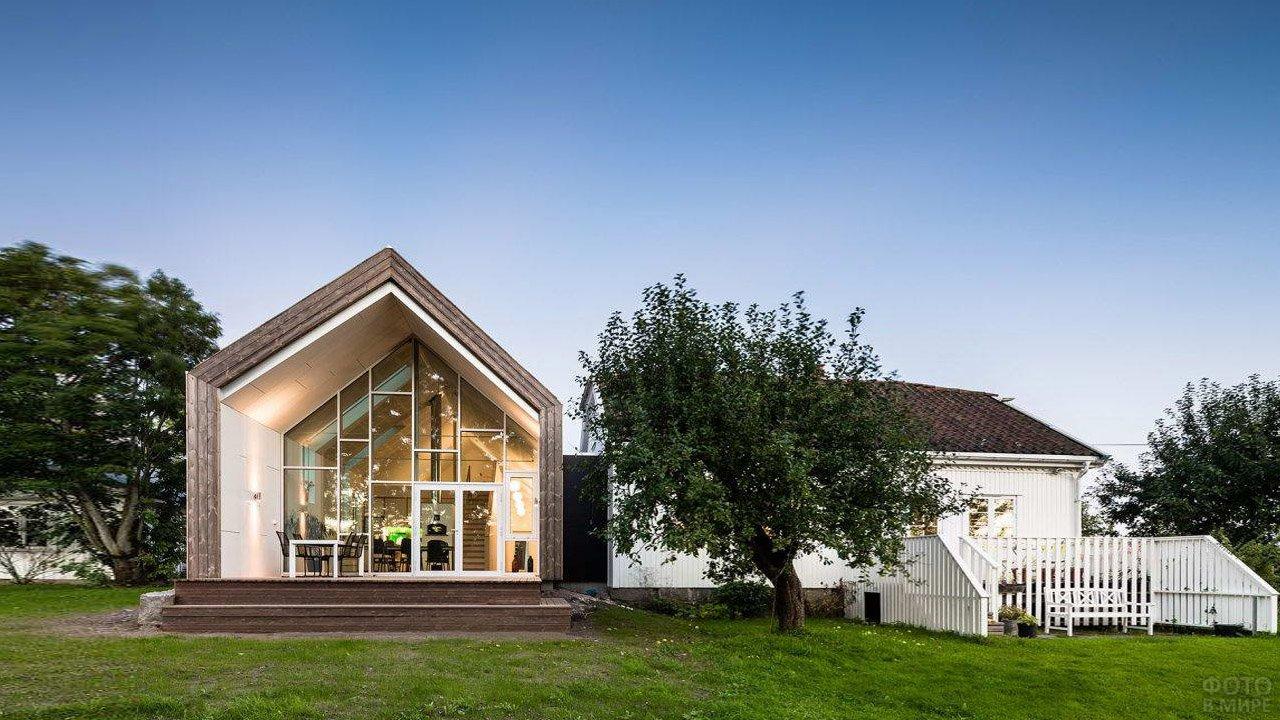 Расширение дома по-норвежски, пристройка в стиле Банхаус
