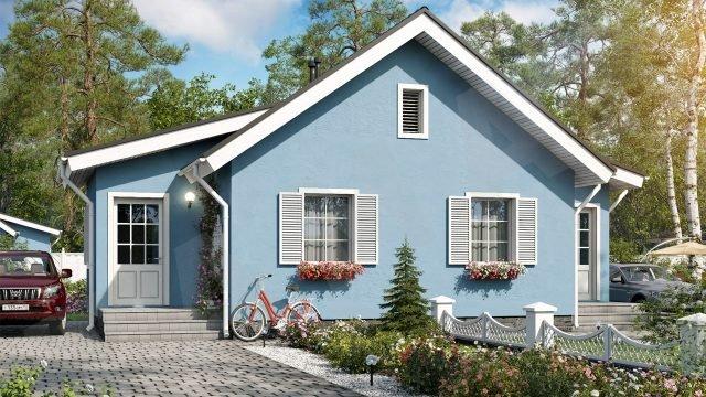 Скандинавский дачный домик с крашенным голубым фасадом и белыми ставнями