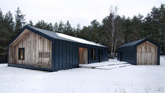 Скандинавский коттедж и гараж в стиле Барнхаус на зимней лесной поляне