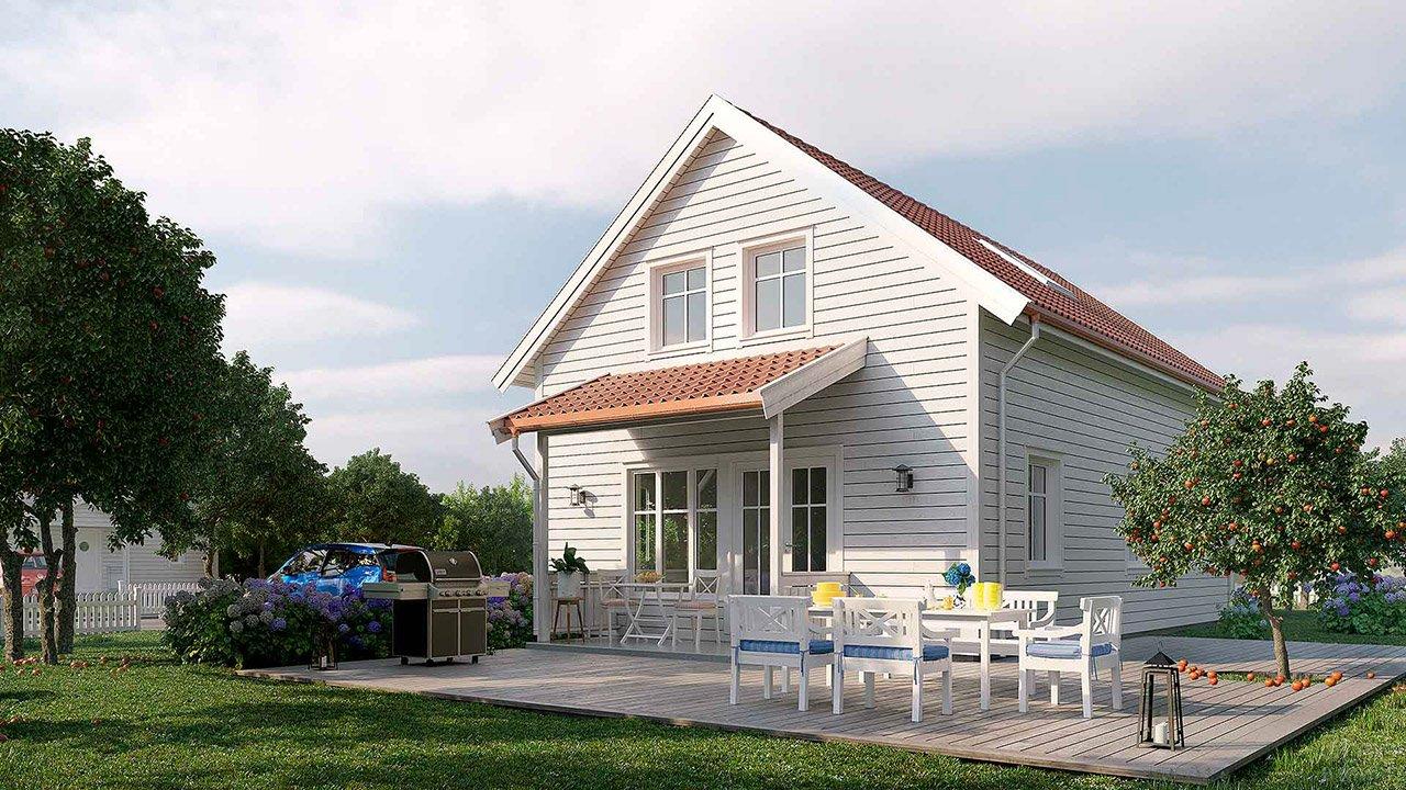 Типовой шведский дом на российском дачном участке с яблонями