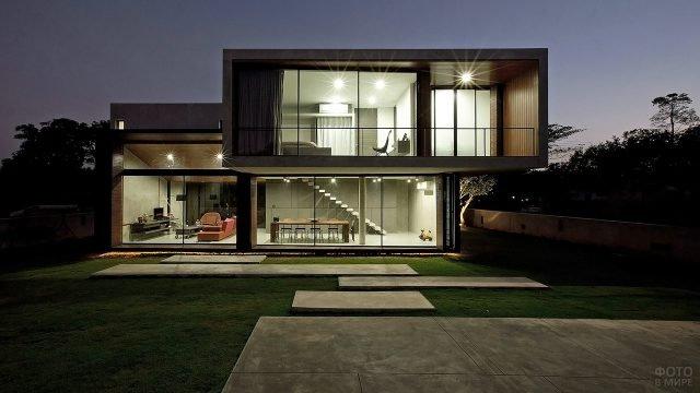 Двухэтажный модульный коттедж в стиле хай-тек