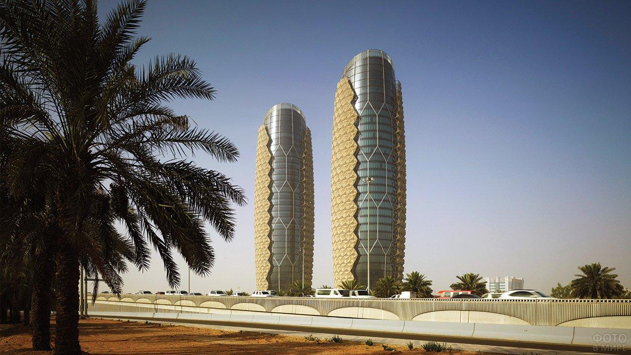 Хай-тек небоскрёбы с экранирующим подвижным фасадом в Абу-Даби