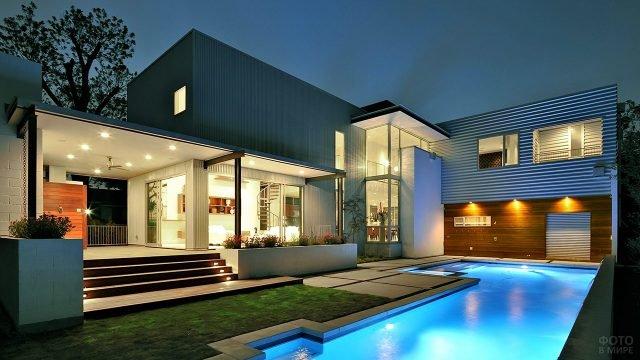 Просторный модульный загородный дом в стиле хай-тек