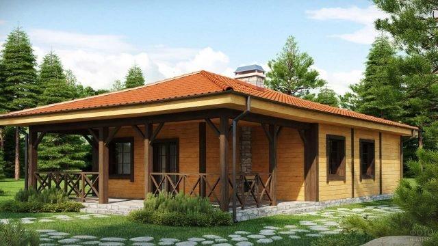 Одноэтажный дом из бруса под красной черепичной крышей