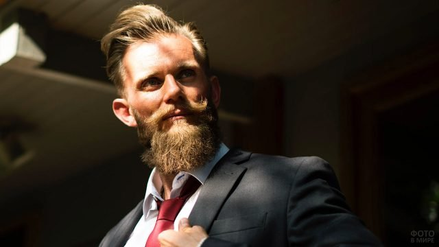 Хипстер с бородорй и вощёными усами в деловом костюме с бордовым галстуком