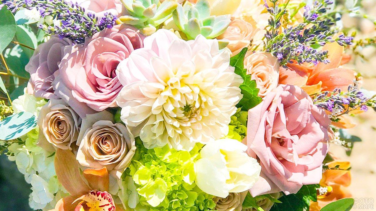 Розы, георгины и полевые цветы в пышном весеннем букете пастельных тонов