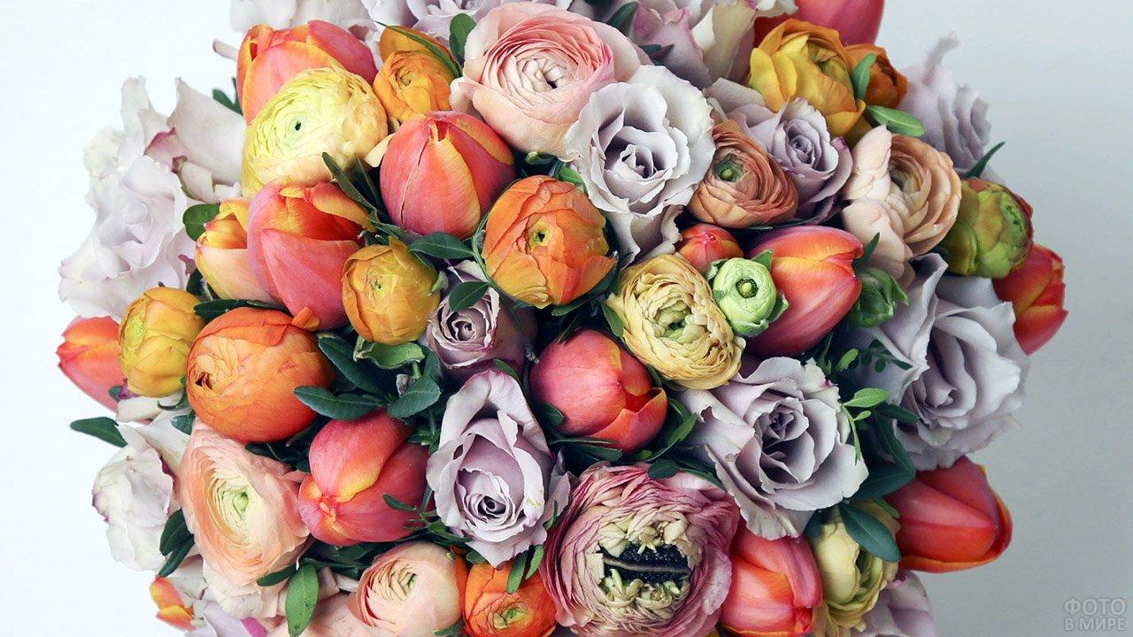 Стильный круглый букет из светлых роз и алых тюльпанов